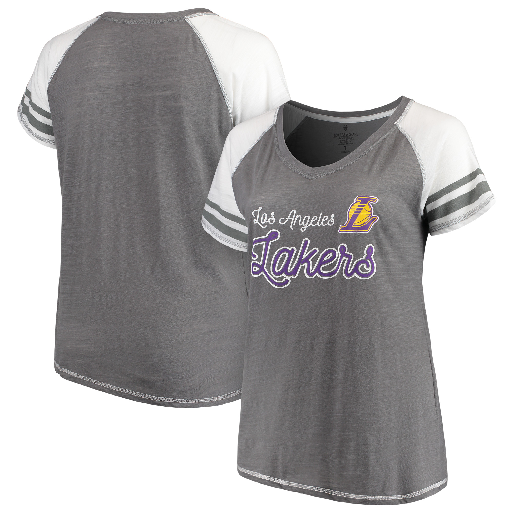 Los Angeles Lakers Soft as a Grape Women's Plus Size Multi-Count Sleeve Stripe Raglan Tri-Blend V-Neck T-Shirt - Charcoal