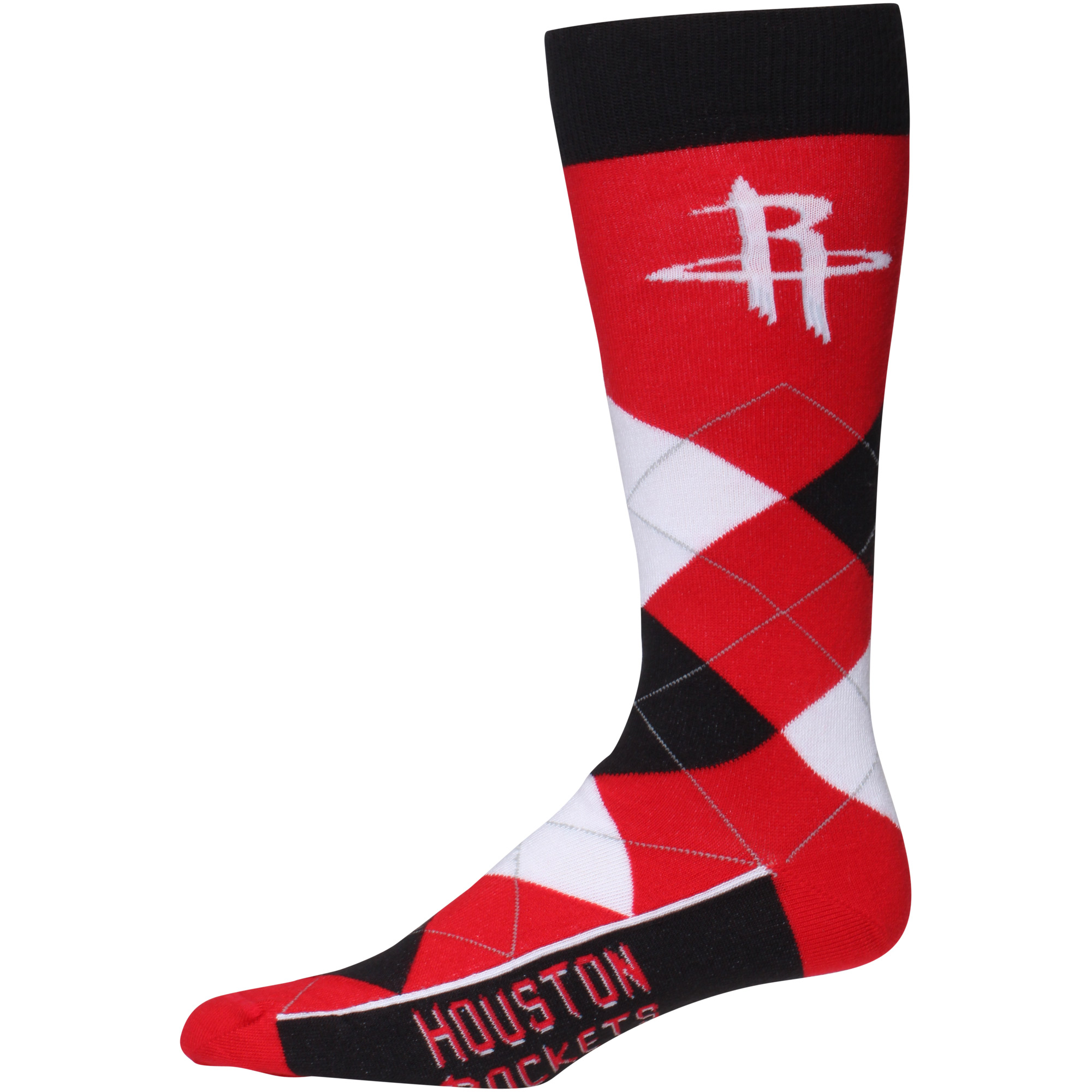 Houston Rockets For Bare Feet Argyle Crew Socks - No Size