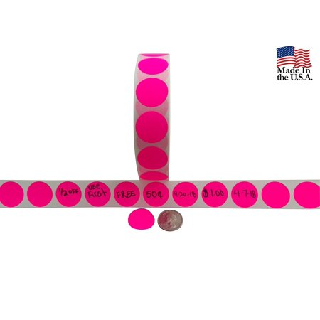 Bright Dots - Color Coding Labels + Water Resistant Seals Super Bright Neon Pink Round Circle Dots For Organizing Inventory 1 Inch 500 Total Adhesive Stickers (Neon Pink)