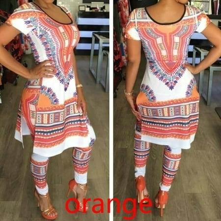 Fashion Women African Print Dashiki Dress + Pants Plus Size