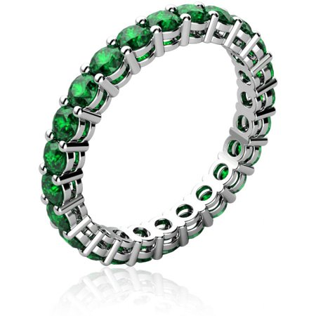 Emerald May Birthstone Ring - Genuine Emerald 18kt White Gold-Tone Ring