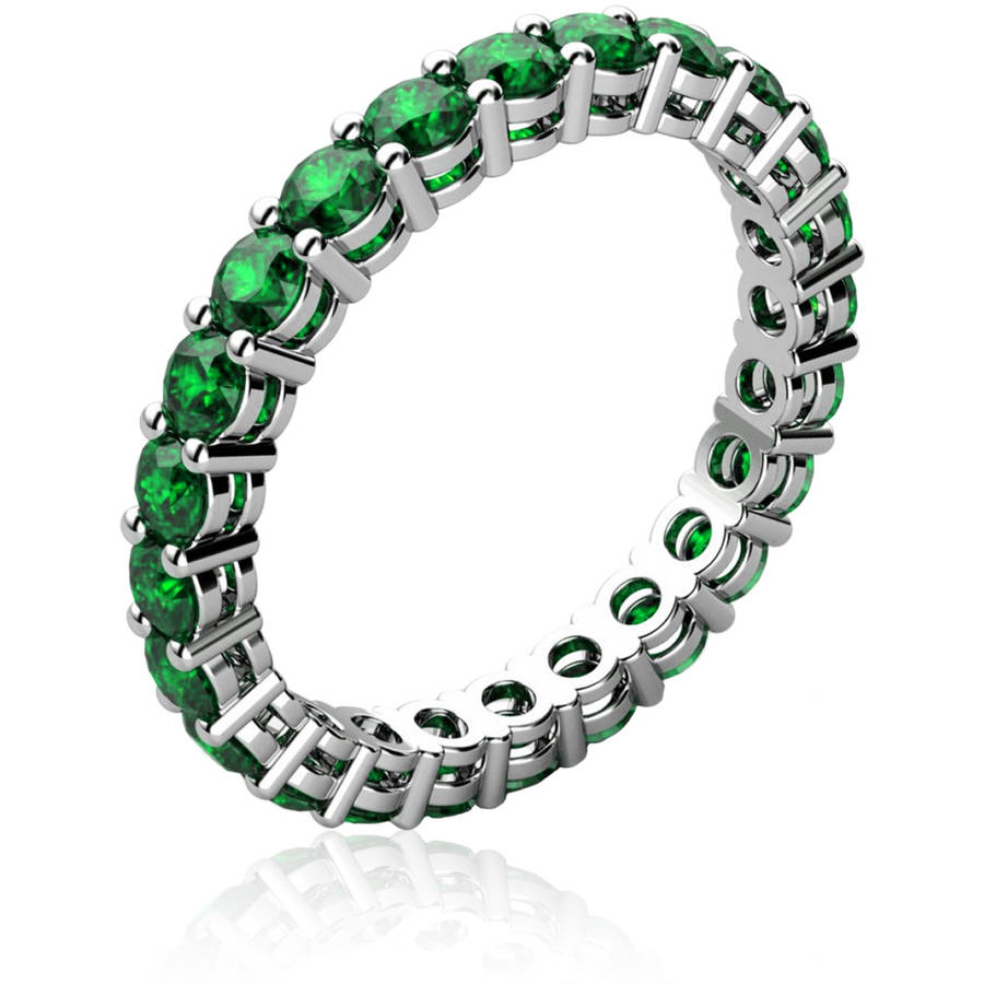 Genuine Emerald 18kt White Gold-Tone Ring