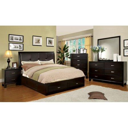Sleek Contemporary Modern Design Perfect Bedroom Furniture Full Size Bed Dresser Mirror Nightstand 4pc Set Espresso