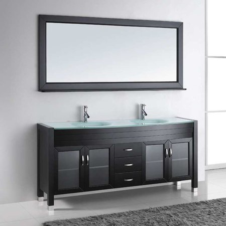 Virtu USA Ava 71 Glass Double Bathroom Vanity Cabinet Set In Espresso