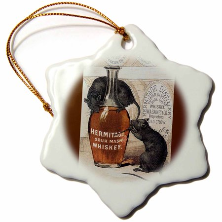 3dRose Hermitage Sour Mash Whiskey Bottle, Barrels and Two Gray Rats, Snowflake Ornament, Porcelain, 3-inch