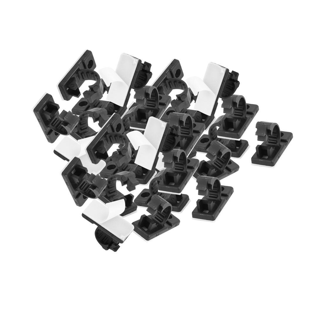 30Pcs 13mmx29mm White Adhesive Backed Nylon Wire Adjustable Cable Clips Clamps