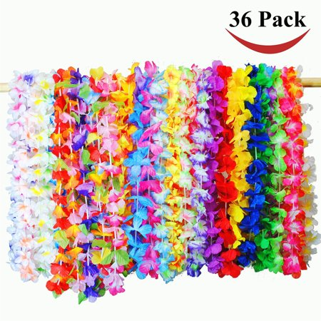 BEAD BEE 36 Counts Tropical Hawaiian Luau Flower Lei Party Favors