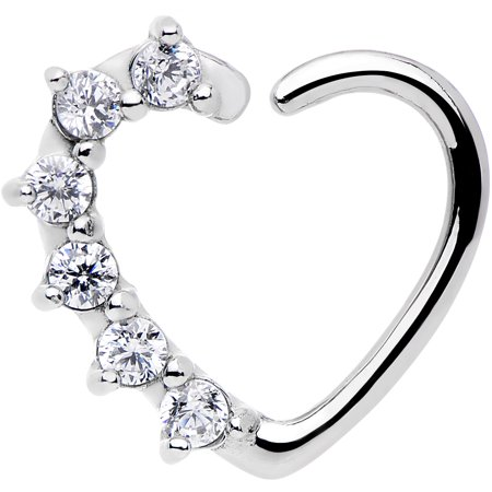16 Gauge Clear Heart Right Closure Daith Cartilage Tragus Earring