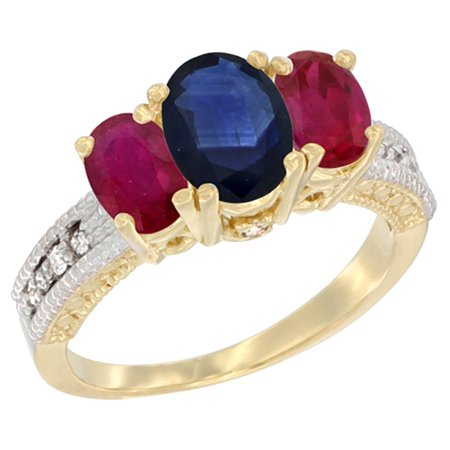 14K Yellow Gold Diamond Natural Blue Sapphire Ring Oval 3-stone with Enhanced Ruby, sizes 5 - 10