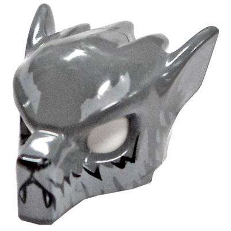 LEGO Headgear Gray Wolf Mask with Fangs and Light Gray Ears #4519686 - Wolf Fangs