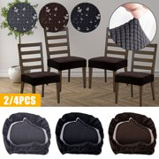 EEEKit Stretch Spandex Jacquard Dining Room Chair Seat Covers, 4/2Pcs Removable Washable Anti-Dust Dinning Upholstered Chair Seat Protector Cushion Slipcovers for Dining Room, Kitchen, Office