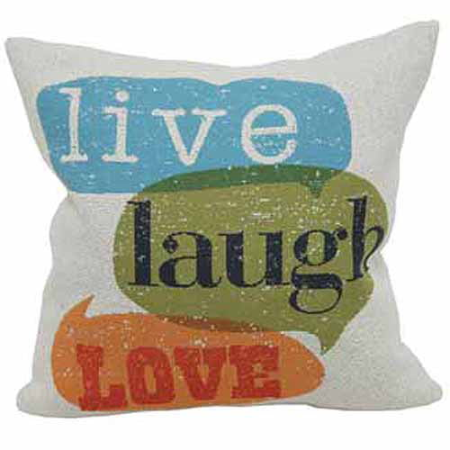 Better Homes and Gardens Live Laugh Love Throw Pillow, Multi-Colored by Brentwood