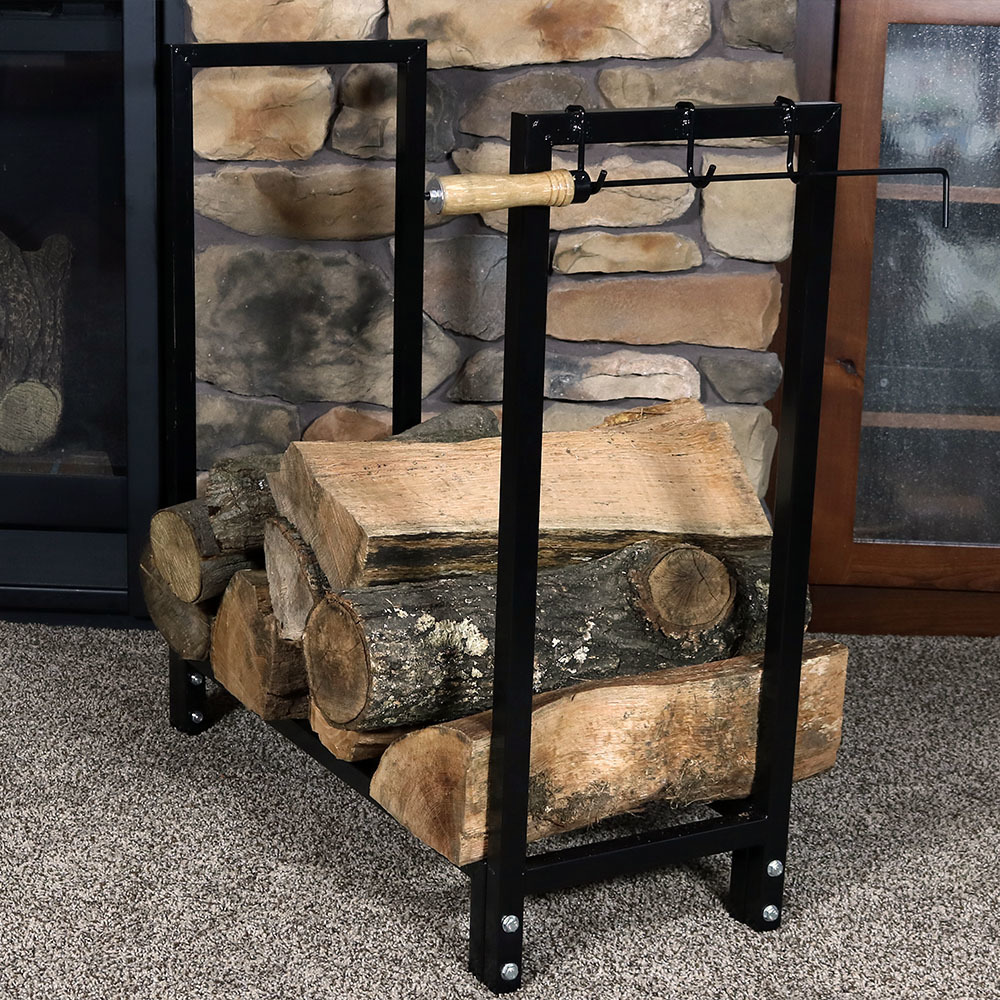 Sunnydaze 30 Inch Firewood Log Rack with Cover, Indoor or Outdoor Wood Storage by Sunnydaze Decor