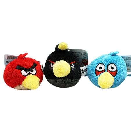 Angry Birds Red Bird, Blue Bird, and Bomb Small Plush Finger Puppets (3pc)