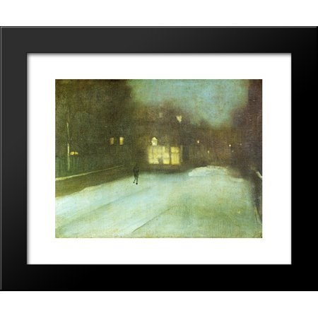 Nocturne in Grey and Gold Chelsea Snow 20x24 Framed Art Print by James McNeill Whistler Chelsea Gold Music Box