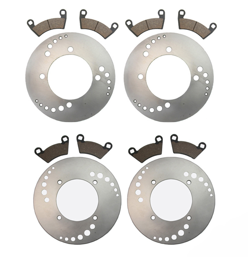 11 Front Rear Brake Rotors and Pads-Polaris Ranger 900D 4x4 Diesel -2011 by Factory Spec