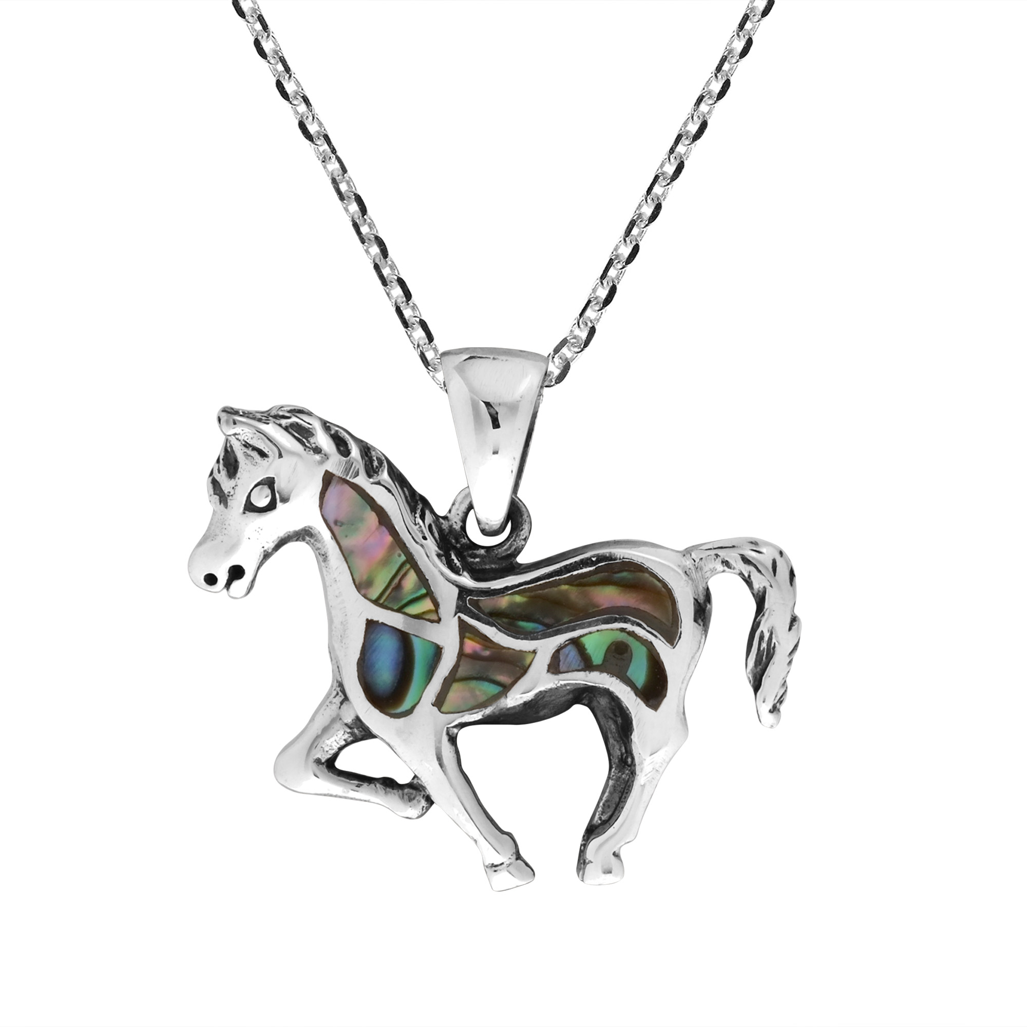 Free Spirit Horse Abalone Shell Inlay .925 Sterling Silver Pendant Necklace