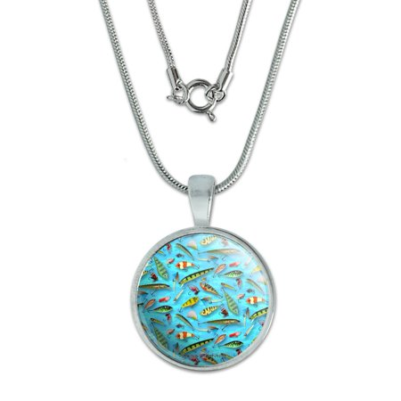 "Image of ""Fishing Flies Lures Fish Pattern 0.75"""" Pendant with Sterling Silver Plated Chain"""