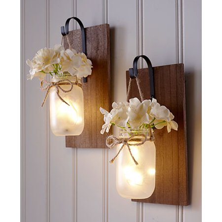 Bellacor Plastic Sconce - The Lakeside Collection Hanging Mason Jar Sconce