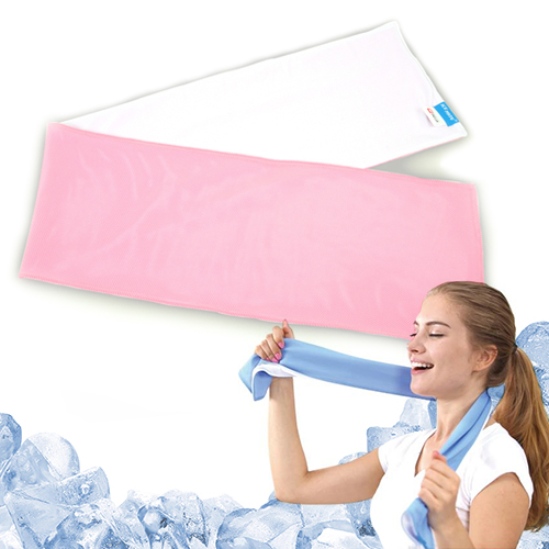 N-rit Ice Mate Cool Towel, White-Pink 709266