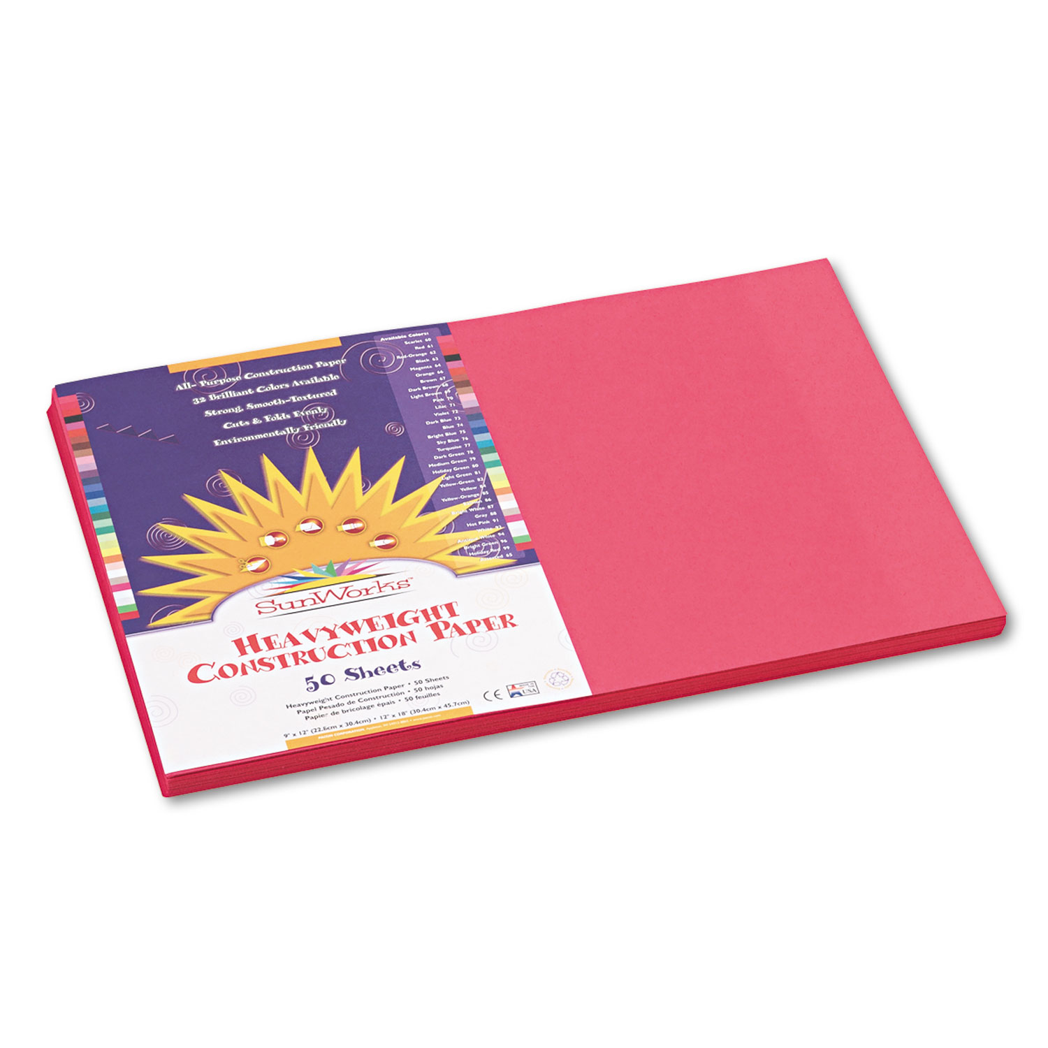 Construction Paper, 58 lbs., 12 x 18, Scarlet, 50 Sheets/Pack