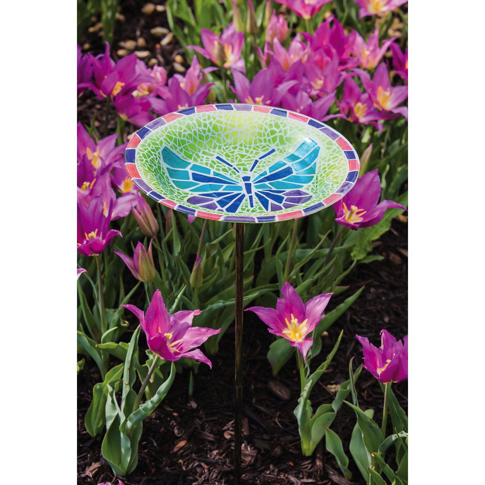 Evergreen Enterprises Vibrant Butterfly Birdbath with 3 Prong Stake by EVERGREEN ENTERPRISES