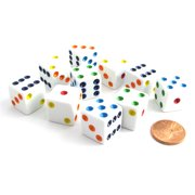 Koplow Games Set of 10 Six Sided D6 16mm Standard Dice Die - White with Multi-Color Pips #06379