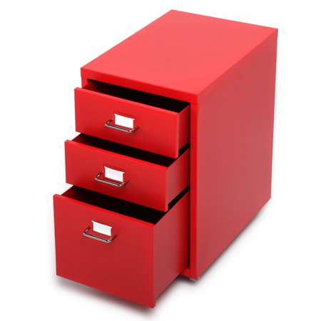 iKayaa Metal Drawer Filing Cabinet Detachable Mobile Steel File Cabinets w/ 3 Drawers 4 Casters Drawer Red Mobile Tool Cabinet