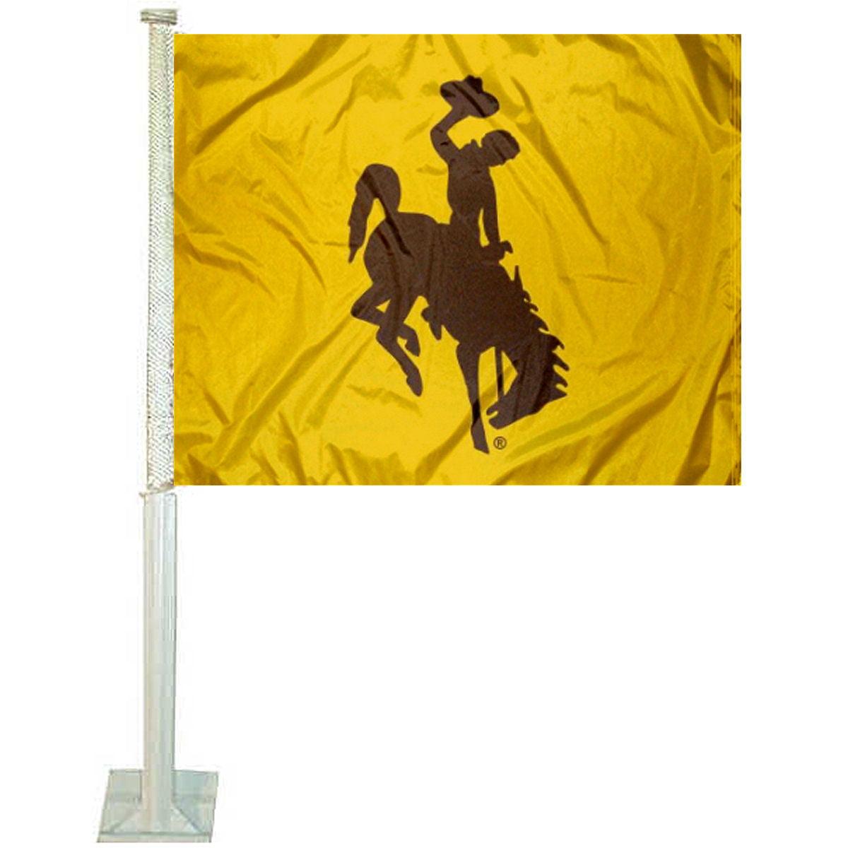 "University of Wyoming Gold 12"" x 15"" Car Flag"