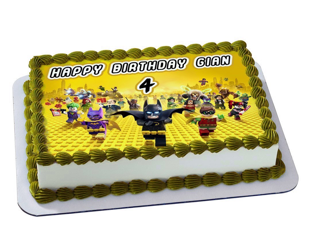 LEGO BATMAN Quarter Sheet Edible Photo Birthday Cake Topper