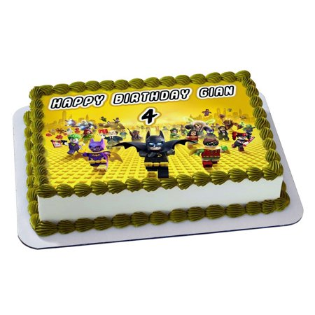 LEGO BATMAN Quarter Sheet Edible Photo Birthday Cake Topper. ~ Personalized! 1/4 Sheet - Batman Cake Topper