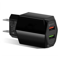 USB Wall Charger, 2-Port Qualcomm Quick Charger 3.0 Plug Cube Replacement for iPhone X/8/7/6S/6S Plus/6 Plus/6/5S/5, Samsung Galaxy S8/S9/S10/S7/S6/S5 Edge+, LG, HTC, Huawei, Motorola, Kindle by Borz