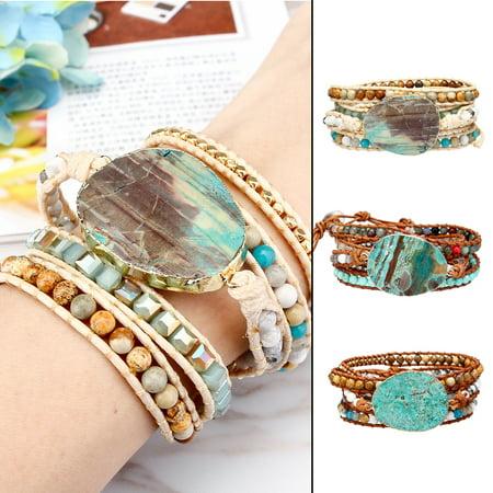 Ocean Jasper Stone - LuckyFine Bohemian Ocean Jasper Stone Bracelet Gypsy Chic Leather Wrap Beaded Bangle