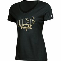 Women's Russell Athletic Black UCF Knights Arch V-Neck T-Shirt