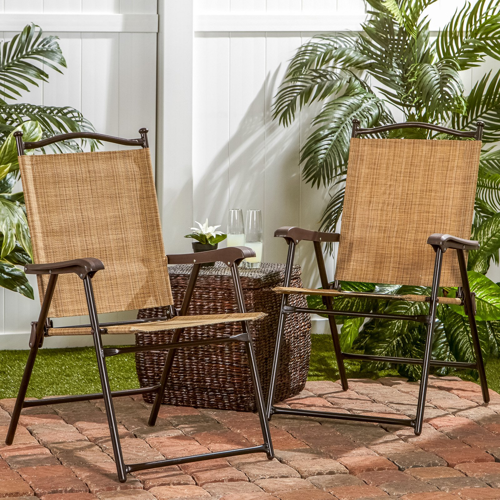 & Sling Black Outdoor Chairs Bamboo Set of 2 - Walmart.com