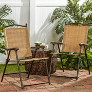 Sling Black Outdoor Chairs, Bamboo, Set of 2