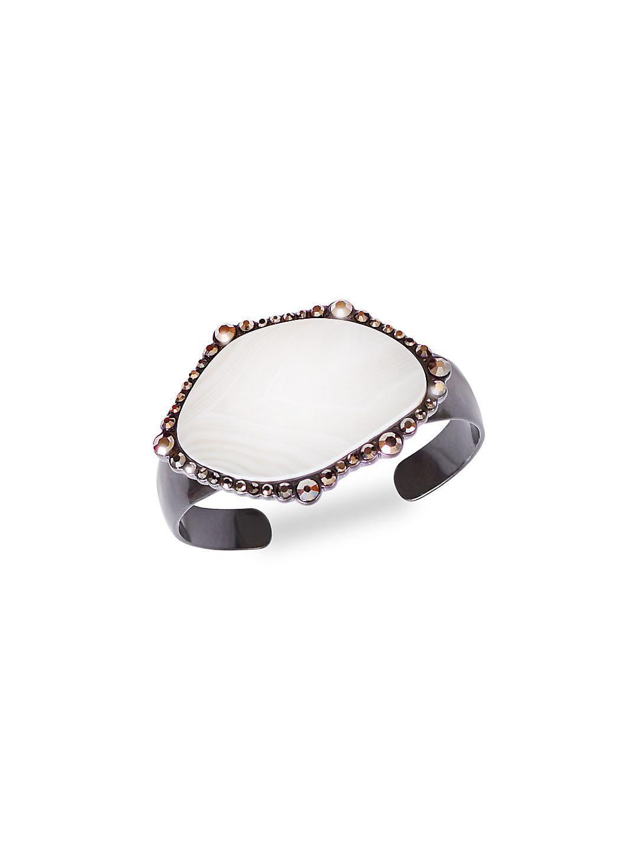 Modern Opulence Pave Agate Cuff Bracelet