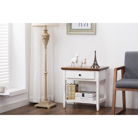 Porthos Home Side Table, an Awe-inspiring End Table with Storage Drawer and Shelf for Bedroom or Living Room Use, a Stylish Night Stand, Bedside Table that Will Adorn Any Room, Size, 24 x 24 x 16 Inch ()