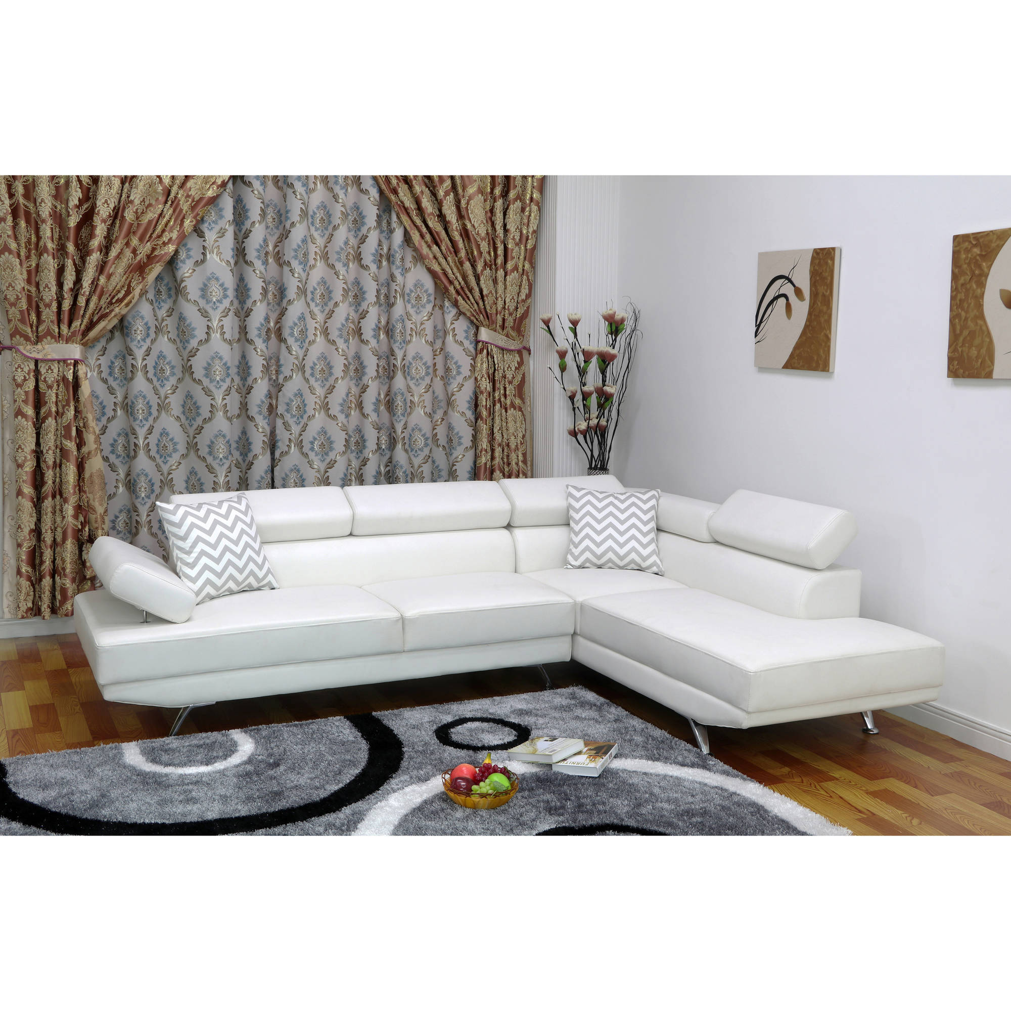 UFE, Sofia 2-Piece Faux Leather Modern Right Facing Chaise Sectional Sofa  Set, White