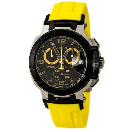 Tissot Men's 43mm Yellow Rubber Band Steel Case S. Sapphire Quartz Black Dial Watch T0484172705703