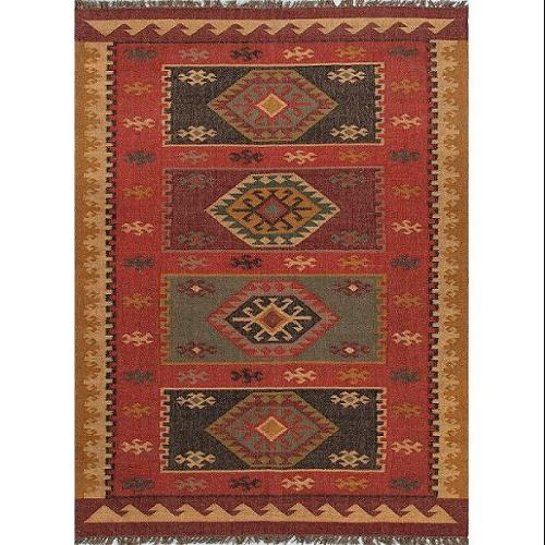 4' x 6' Escorpin Aves Red, Gold and Black Tribal Hand Woven Reversible Jute Area Throw Rug