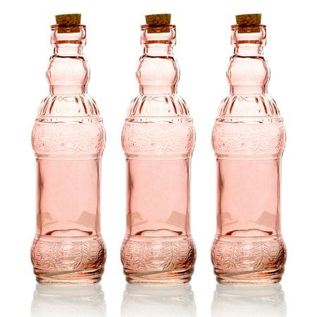 BULK PACK (3) Edna Vintage Pink Vintage Glass Bottle Wedding Flower - Pink Glass Vase