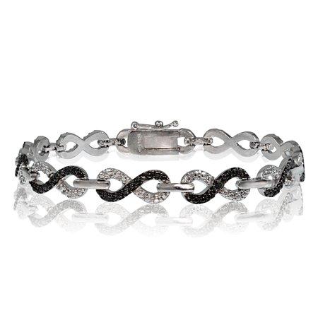 Black Diamond Accent Infinity Bracelet in Silver Tone Black Diamond Silver Bracelets
