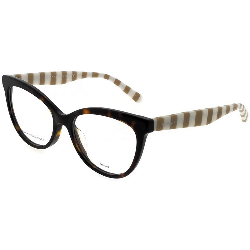 Tommy Hilfiger Plastic Rectangular Eyeglasses 52 09N4 Havana Brown