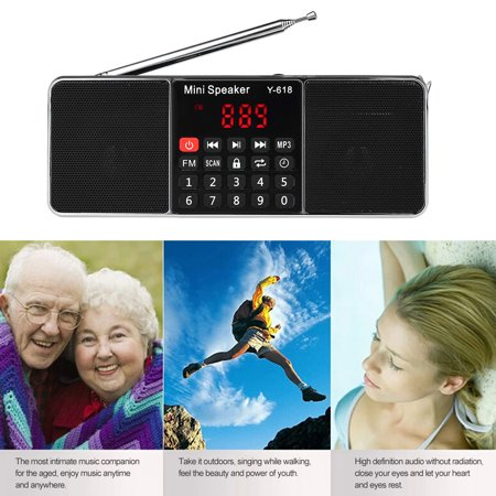 Y-618 Mini FM Radio Digital Portable Dual 3W Stereo Speaker MP3 Audio Player High Fidelity Sound Quality w/ 2 Inch Display Screen Support USB Drive TF Card AUX-IN Earphone-out - image 7 of 7