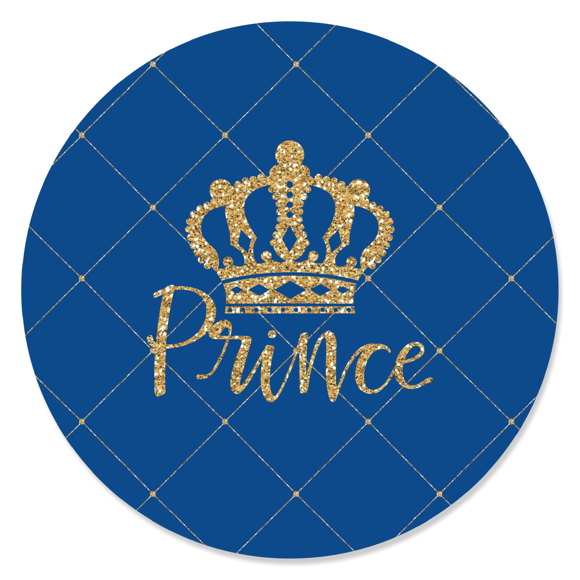 Royal Prince Charming Baby Shower Or Birthday Party Circle Sticker