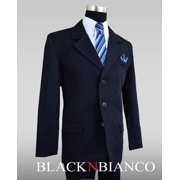 Boys Dark Navy Pinstripe Suit complete outfit dresswear