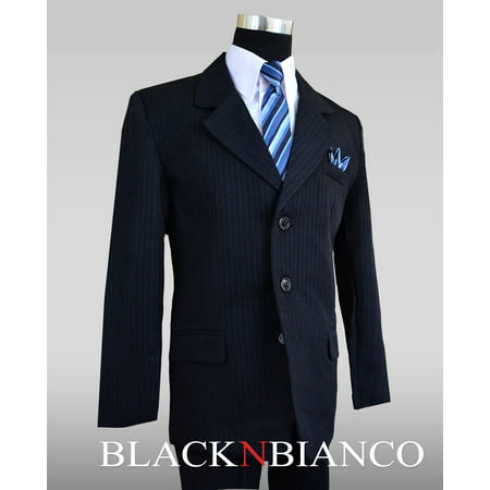 Boys Dark Navy Pinstripe Suit complete outfit dresswear - Dark Angel Outfits