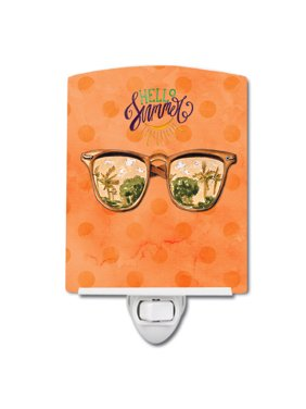 Beach Sunglasses Orange Polkadot Ceramic Night Light