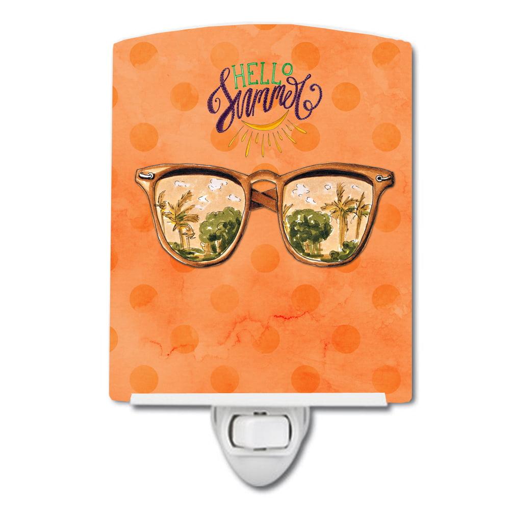 Beach Sunglasses Orange Polkadot Ceramic Night Light